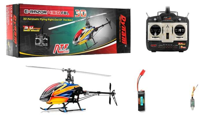 Вертолёт Dynam E-Razor 450 FBL Carbon Brushless 720 мм 2.4GHz RTF